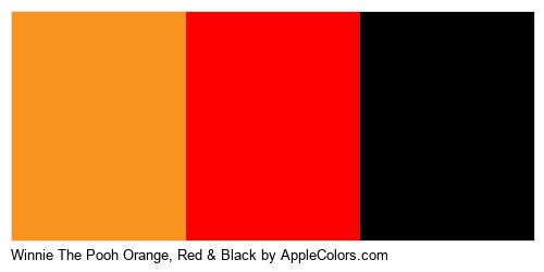 Winnie The Pooh Orange, Red & Black Brand Colors Logo